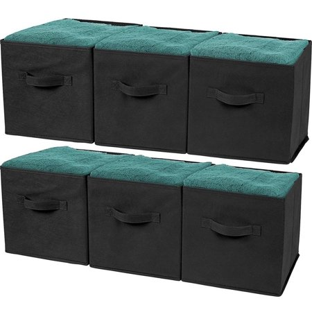 (Greenco Foldable Storage Cubes Non-woven Fabric -6 Pack-(Black))