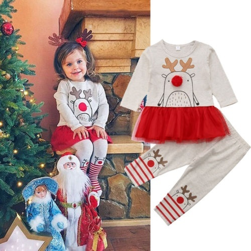 Christmas Kid Baby Girl Lace Tutu Dress Top+Pants Outfit Clothes Set Costume 0-5Years