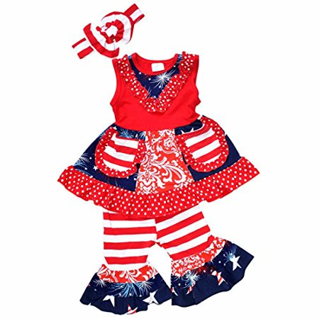 Unique Baby Girls 4th of July Tank Boutique Outfit with Headband (1 Year/XXS, Red)