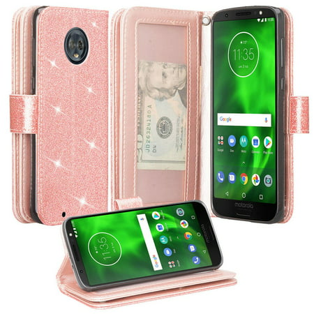 Motorola Moto G6 Case, Moto G6 2018 Case, KickstandGlitter Faux Leather Flip [Kickstand Feature] Protective Wallet Case Cover Clutch - Rose Gold