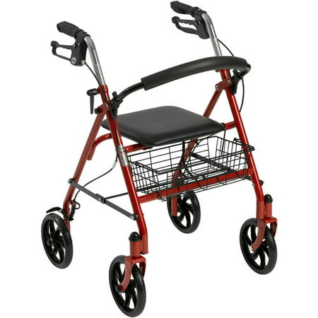 Drive Medical Four Wheel Walker Rollator With Fold Up Removable Back Support  Red