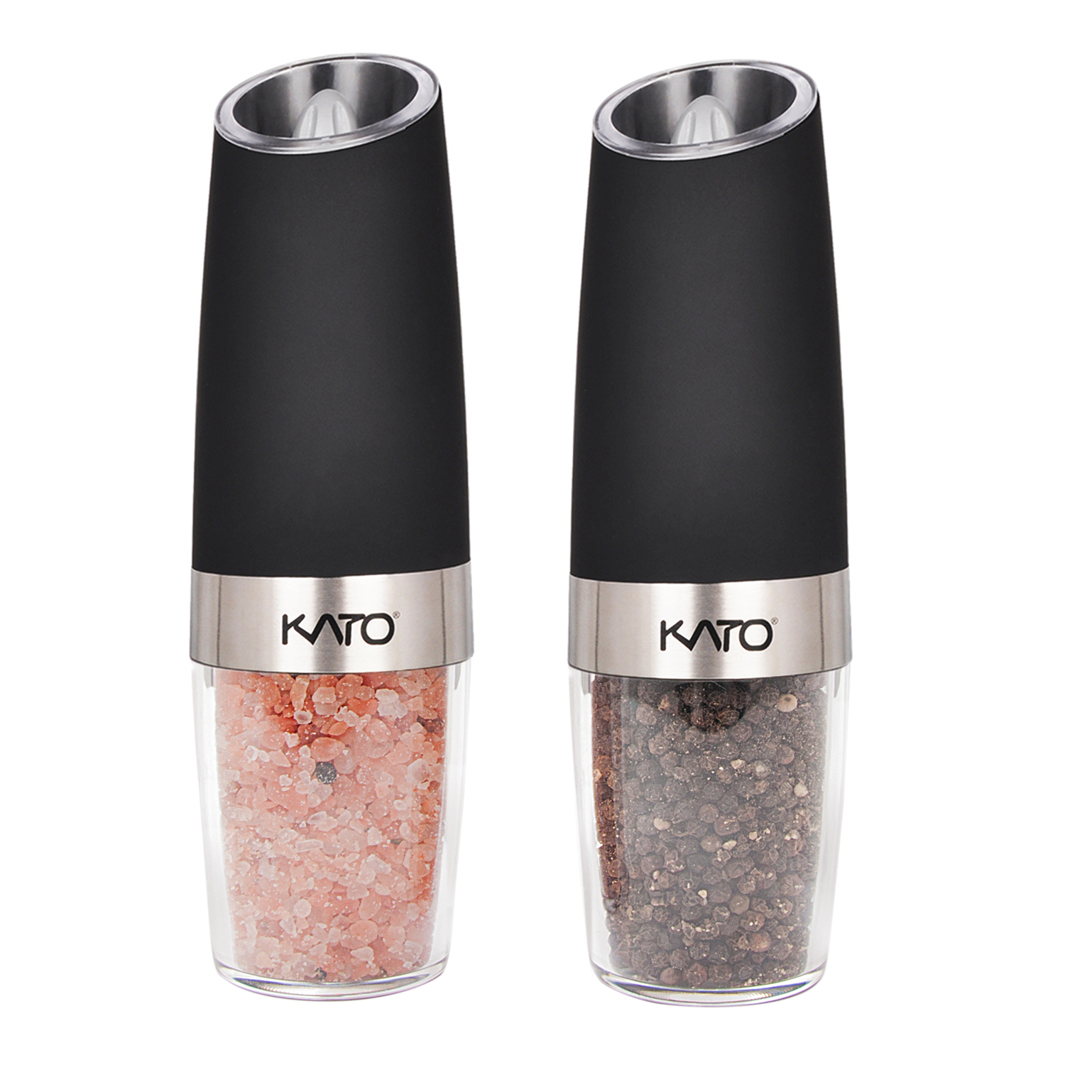 Kato Gravity Electric Salt and Pepper Grinder Set - Battery Powered, Stainless Steel & Acrylic Body Automatic Pepper Mills with Blue LED Light , Free Garlic Roller As a Gift, Silver