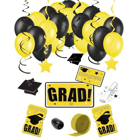 Congrats Grad 38pc Decoration Graduation Pack - School Colors (Cute Graduation Decorations)