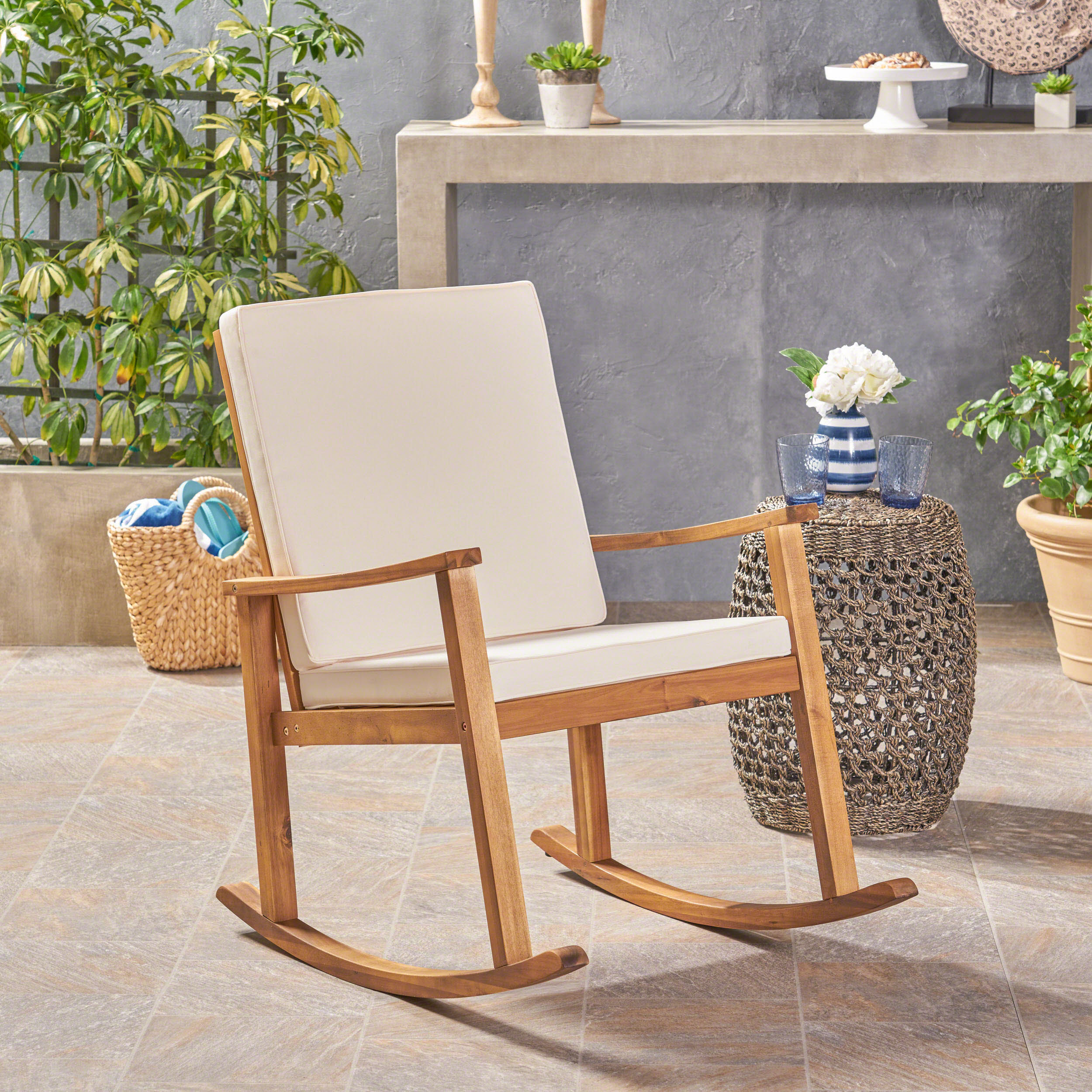 Outdoor Acacia Wood Rocking Chair with Cushion, Teak,Cream
