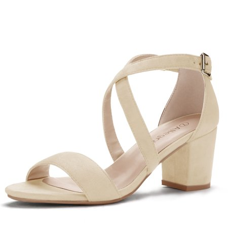 Criss Cross Ankle Strap (Unique Bargains Women's Mid Heel Crisscross Straps Ankle Strap Sandals )
