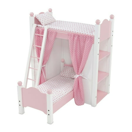 18 Inch Doll Furniture White Loft Bunk Bed With Shelving Units And
