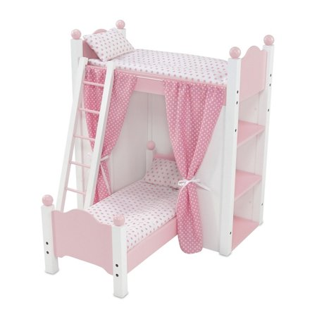 18 Inch Doll Furniture White Loft Bunk Bed With Shelving Units And Angled Single Bed Includes Ladder Lovely Pink And White Polka Dot Bedding And