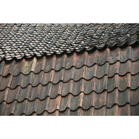Laminated Poster Overlap Roofing Pattern Roof Rooftop Tiles Red Poster Print 11 x (Red Roof Tile)