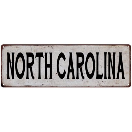 NORTH CAROLINA Vintage Look Rustic Metal 6x18 Sign City State 106180041377 - Party City North Carolina