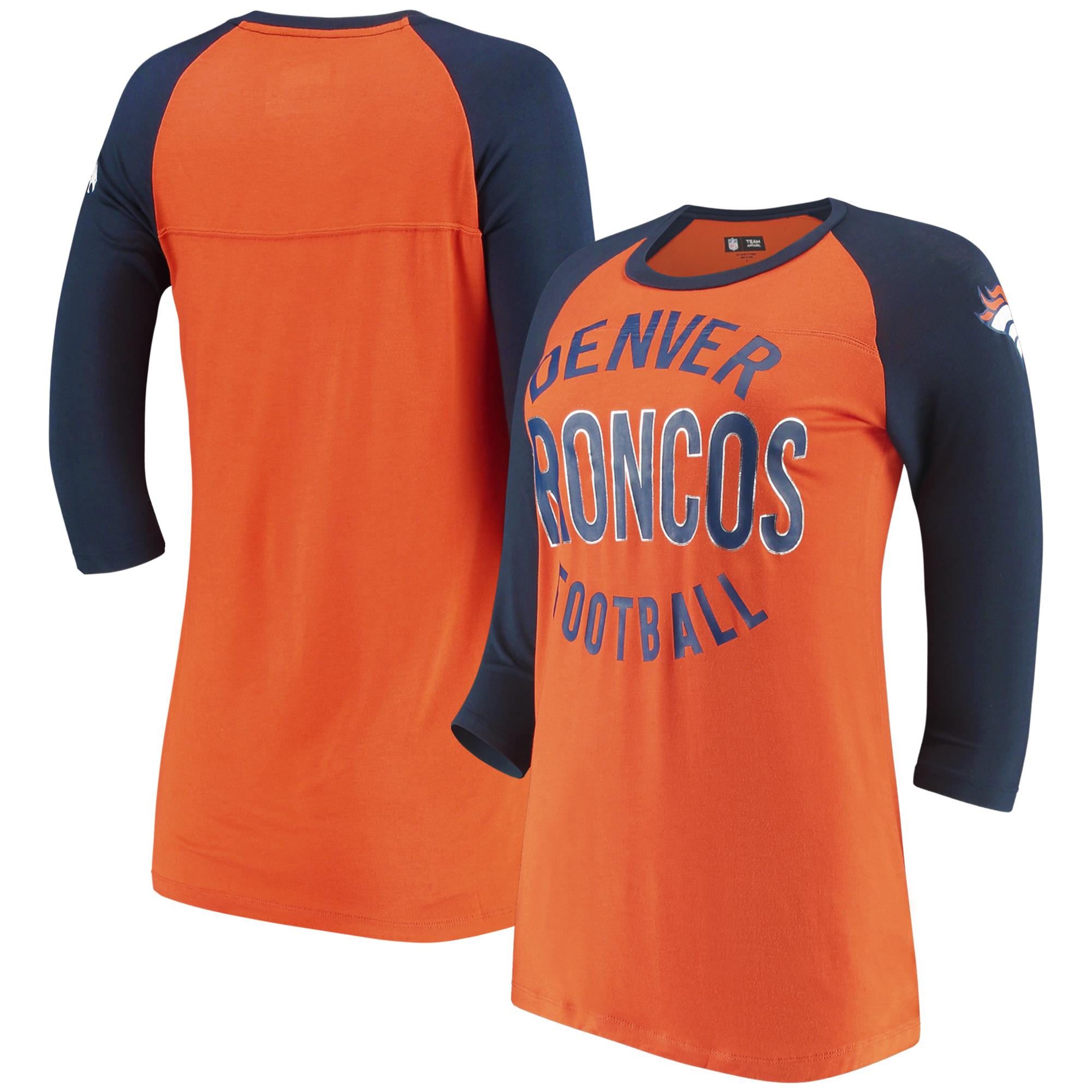 Denver Broncos 5th & Ocean by New Era Women's Novelty 3/4-Sleeve Scoop Neck T-Shirt - Orange/Navy