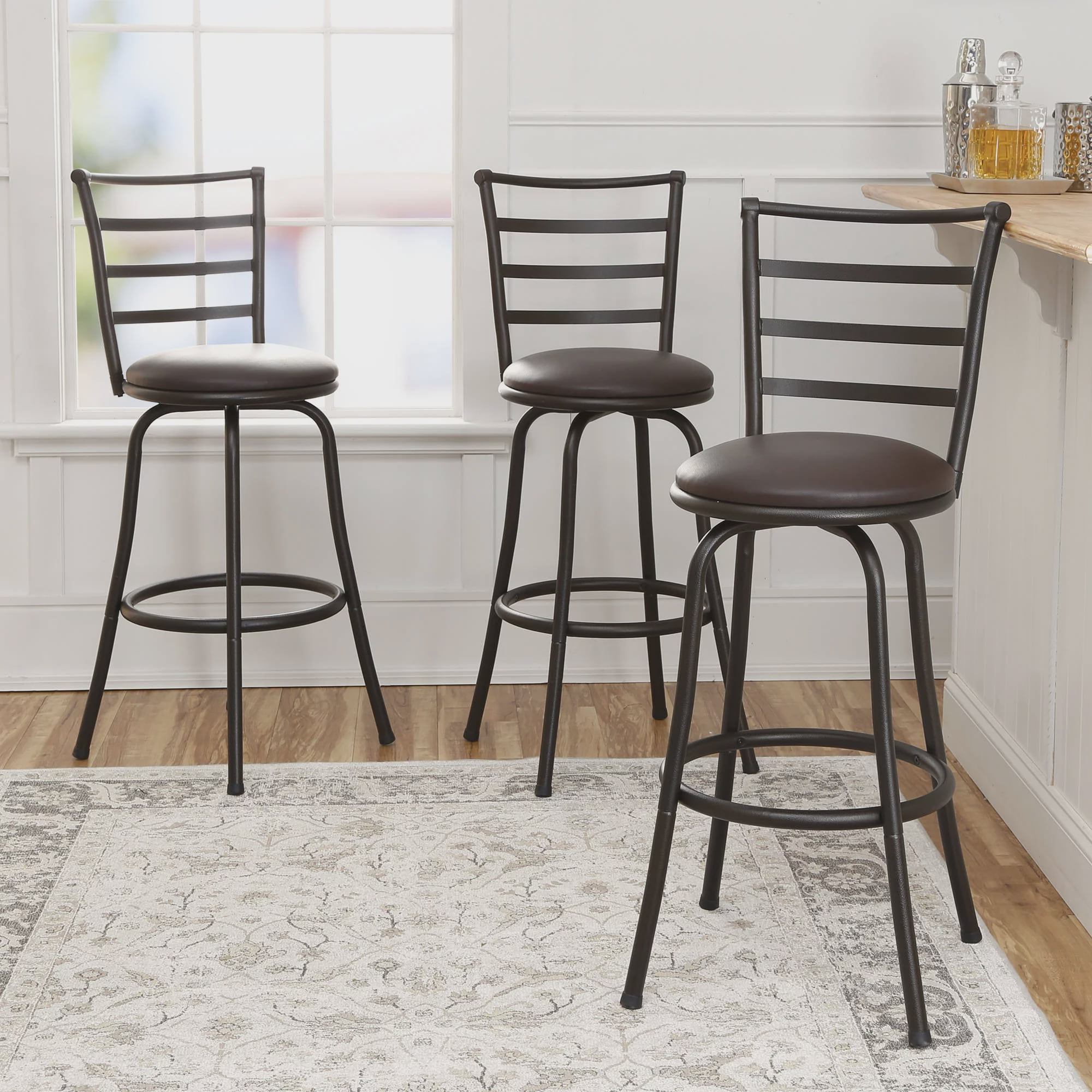 new mainstays adjustable height swivel bar stool set of 3 metal brown chairs ebay. Black Bedroom Furniture Sets. Home Design Ideas