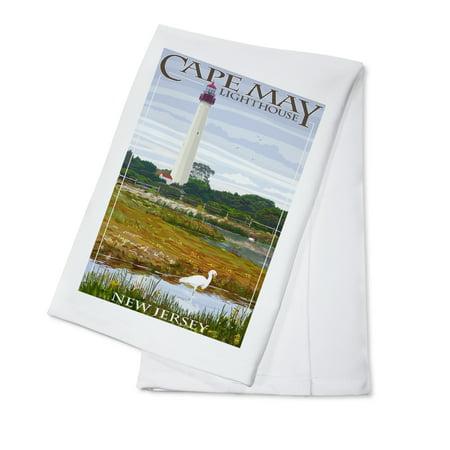 New Jersey Shore- Cape May Lighthouse - Lantern Press Artwork (100% Cotton Kitchen Towel)