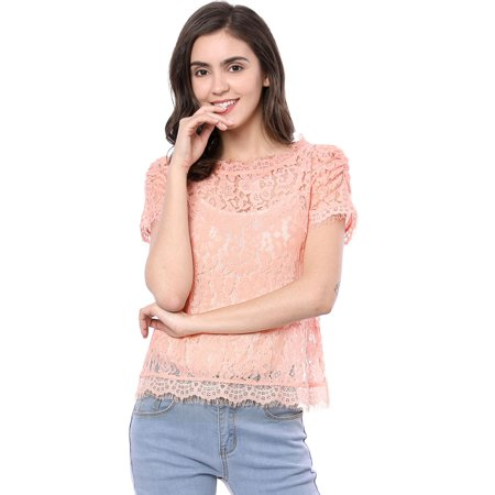 Unique Bargains Women's Scalloped Trim See Through Floral Lace Top