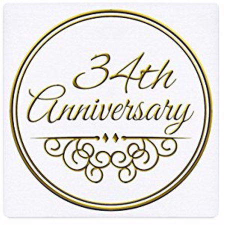 3dRose 34th Anniversary gift - gold text for celebrating wedding anniversaries - 34 years married together, Mouse Pad, 8 by 8 inches - Walmart.com