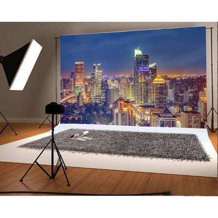 HelloDecor Polyster Urban Night Scene Backdrop 7x5ft Photography Background City Buildings Lights Sky Video Studio Props Children Baby Kids - City Scene Backdrop
