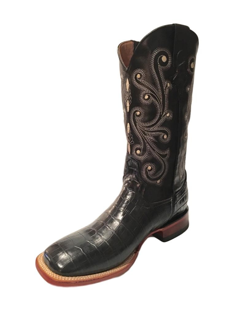 Ferrini Western Boots Mens Cowboy Caiman Gator Print Black 40793-04 by Ferrini