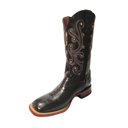 Ferrini Western Boots Mens Cowboy Caiman Gator Print Black 40793-04 (Gator Skin Cowboy Boots)