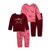Garanimals Baby and Toddler Girls' Fleece Sweatshirt and Sweatpants Outfit Set, 4-Piece, Sizes 12M-5T