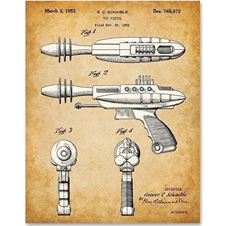 Toy Ray Gun Retro Art - 11x14 Unframed Patent Print - Great Gift for Sci Fi Collectors or Boy's Room Decor ()