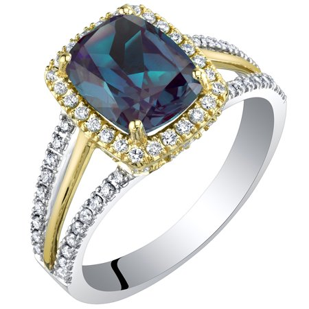 Alexandrite Lab - 14K Gold Created Alexandrite and Lab Grown Diamond Two-Tone Ring 3.19 carats total Cushion Cut
