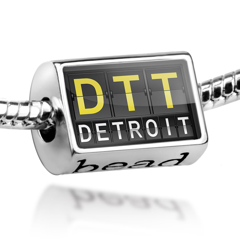 Bead DTT Airport Code for Detroit Charm Fits All European Bracelets