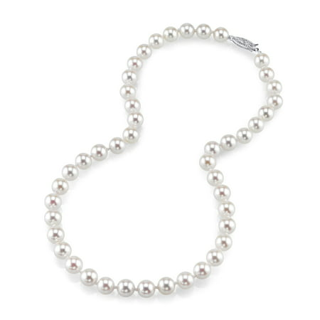 18K Gold 7.5-8.0mm Japanese Akoya Saltwater White Cultured Pearl Necklace - AA+ Quality, 17