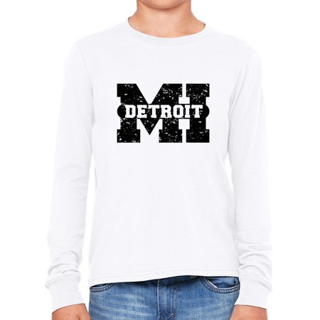 Detroit, Michigan MI Classic City State Sign Girl's Long Sleeve T-Shirt - Halloween City Mi