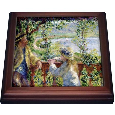 3dRose Renoirs Painting By The Water, Trivet with Ceramic Tile, 8 by 8-inch