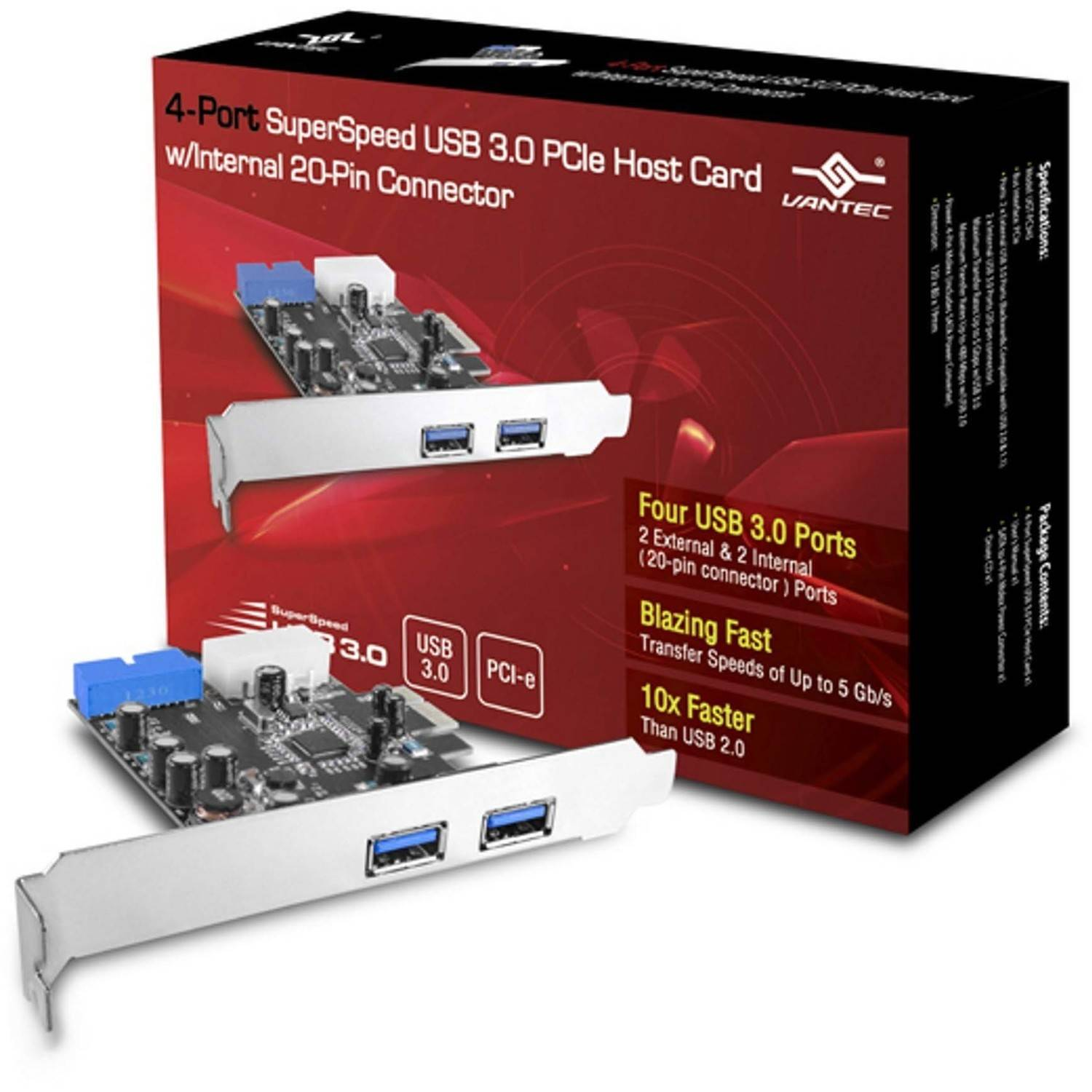 Vantec UGT-PC345 4-Port USB 3.0 PCIe with internal 20-Pin Host Card, Silver