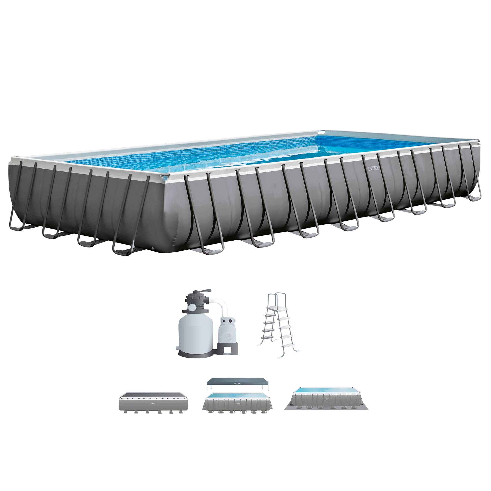"Intex 32' x 16' x 52"" Rectangular Ultra Frame Above Ground Pool with Sand Filter Pump by INTEX TRADING LTD"