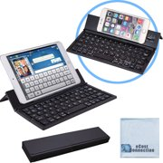 Bluetooth Folding Keyboard for Computers, Laptops, Tablets & Smartphones, iPhones, iPads, Samsung, Android, etc. (Black) | Super-Comfortable & eCostConnection Microfiber Cloth