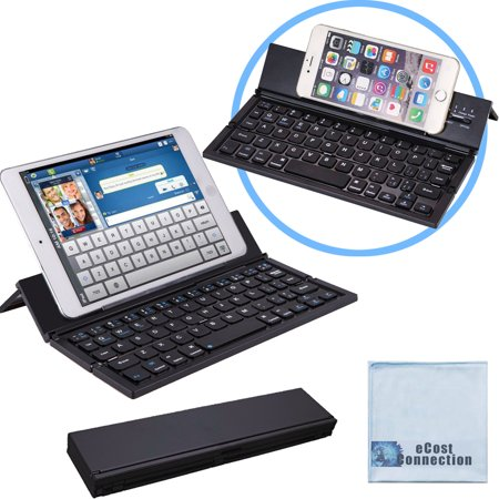Bluetooth Folding Keyboard for Computers, Laptops, Tablets & Smartphones, iPhones, iPads, Samsung, Android, etc. (Black) | Super-Comfortable & eCostConnection Microfiber Cloth ()