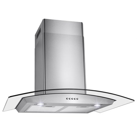 "AKDY 30"" Stainless Steel Tempered Glass Wall Mount Kitchen Vent Range Hood Push Buttons w/ Mesh Filter LED Lights"