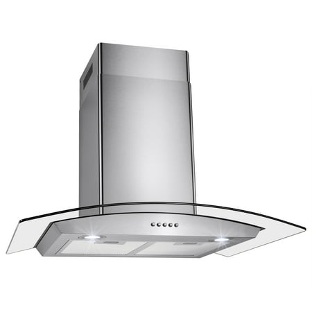 "AKDY RH0230 30"" Stainless Steel & Tempered Glass Wall Mount Range Hood"