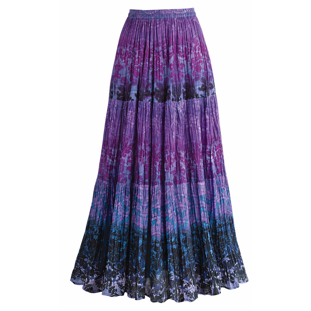 Women's Tiers Of Plum Crinkled Maxi Broom Long Skirt