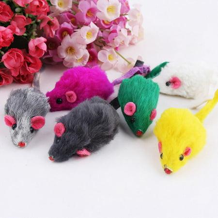 10Pcs Pet Cat Mice Plush Toys Interactive Funny Mouse Toys Kitten Toy (Random