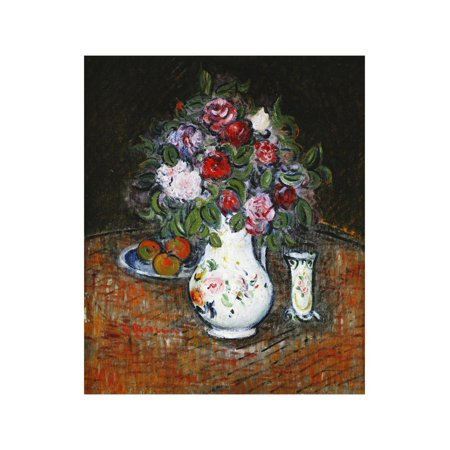 Vase of Flowers and Bowl of Fruit; Vase De Fleurs Et Bol De Fruits Print Wall