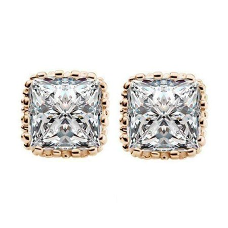 ON SALE - Royal Princess 7mm Cut Simulated White Or Pink Sapphire Stud Earrings Yellow Gold Plated