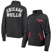 Chicago Bulls New Era Women's Striped Trim Tri-Blend Half-Zip Pullover Jacket - Black