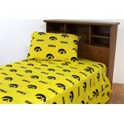 Iowa Hawkeyes 100% cotton, 3 piece sheet set - flat sheet, fitted sheet, 1 pillow case, Twin XL, Team Colors