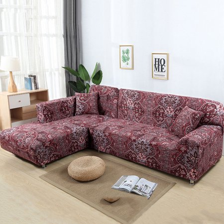Sofa Covers for L Shape, 2pcs Polyester Fabric Stretch Slipcovers + 2pcs  Pillow Covers for Sectional sofa L-shape Couch - Red Flower New style