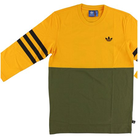 Adidas Mens Stripes Back Jersey Tee Yellow ()