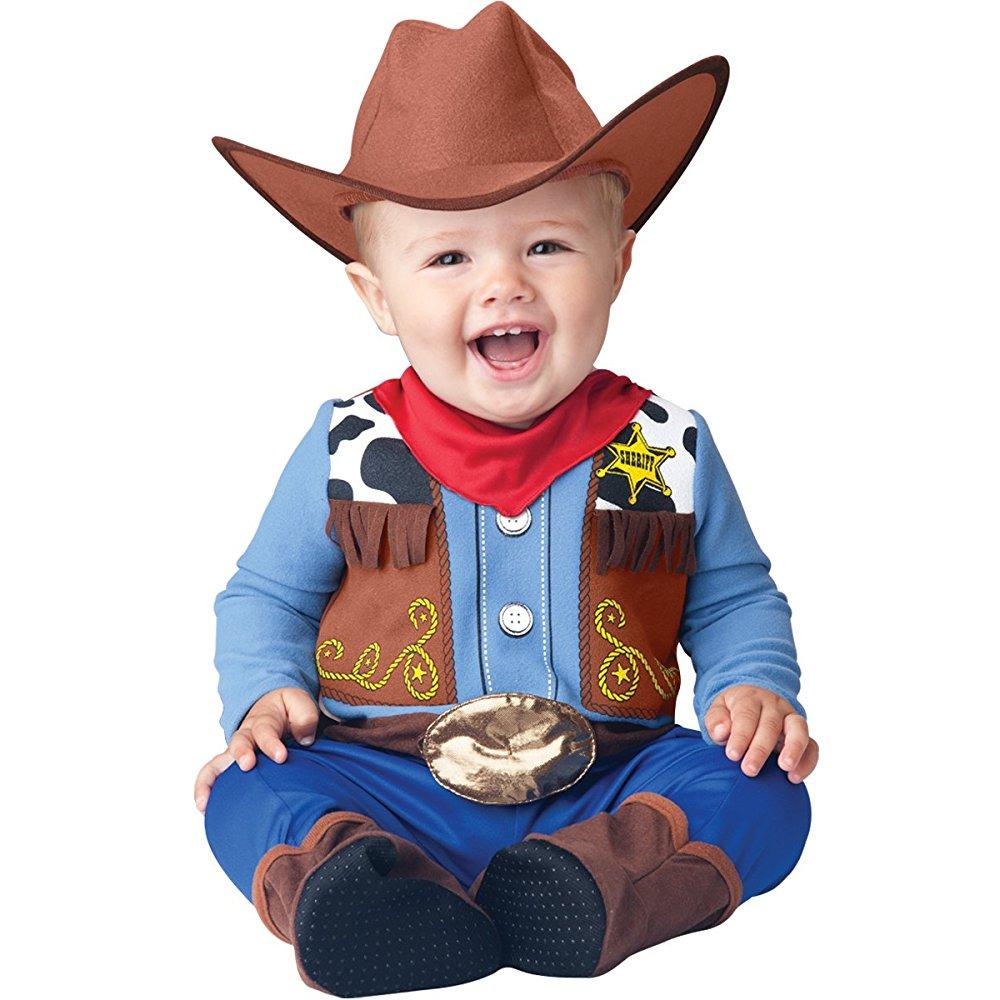 InCharacter Baby Boy's Wee Wrangler Cowboy Costume, Tan/Blue, Large