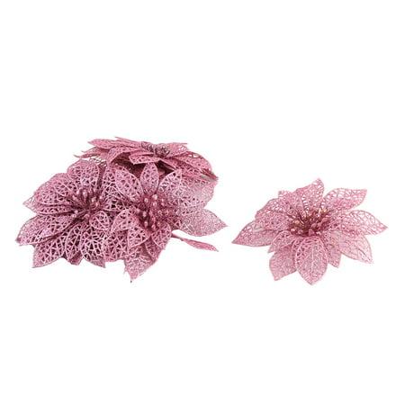 Unique BargainsHome Christmas Tree Artificial Glitter Hanging Ornaments Flower Pink 10 PCS ()