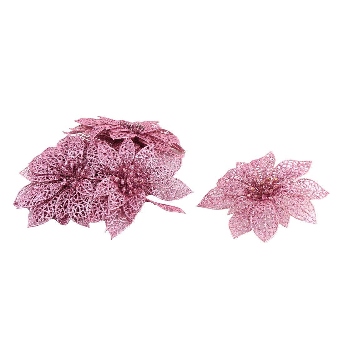 Unique BargainsHome Christmas Tree Artificial Glitter Hanging Ornaments Flower Pink 10 PCS