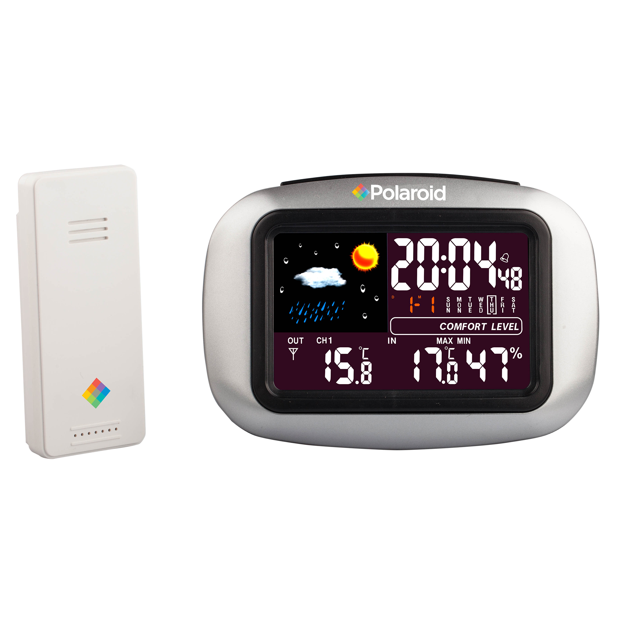 Polaroid Silver Wireless Weather Station Clock and Transmitter,LCD Screen, Temperature Display in Celsius and Fahrenheit by Polaroid