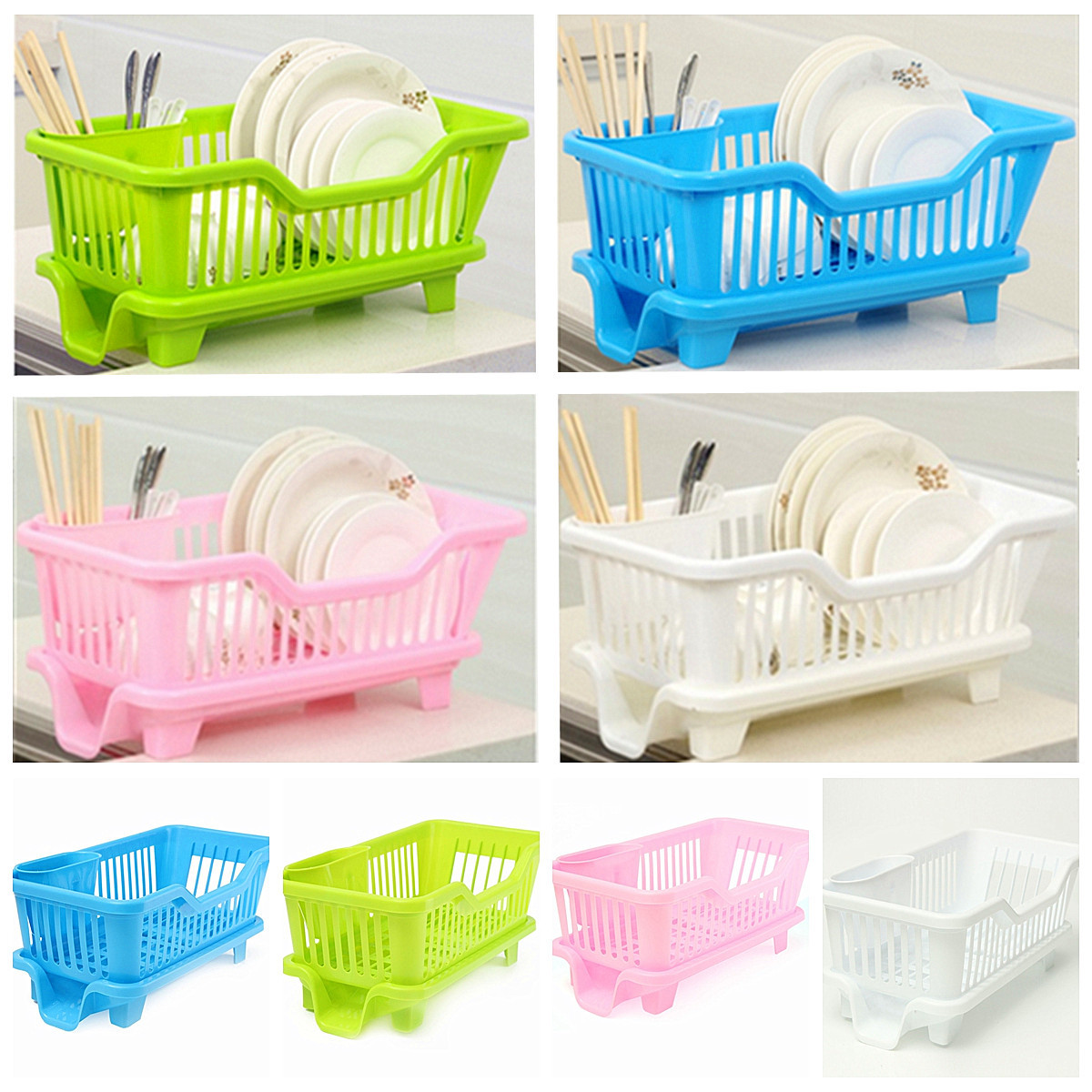 Kitchen Drying Rack Dish Cup Drainer Washing Cup Plate Holder Basket Cutlery Organizer Tray 17.5 x 9.4 x 7 CM