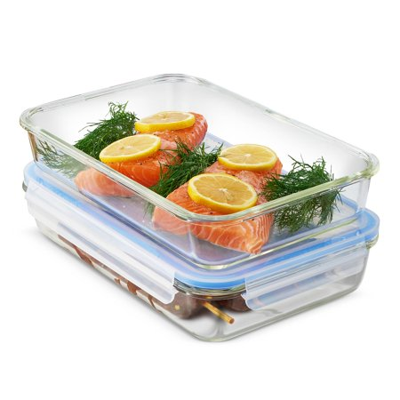 ShopoKus Glass Casserole Dish with Lid - (Set of 2) 12x 8 Inch Oven Safe Baking Dish and Airtight Food Storage Containers, Bakeware Pan for Casseroles, Large Lasagna or Store (Individual Casserole Lid)