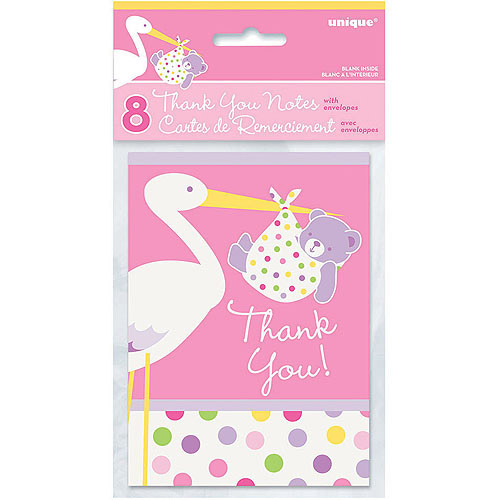 Pink Stork Baby Shower Thank You Notes, 8pk