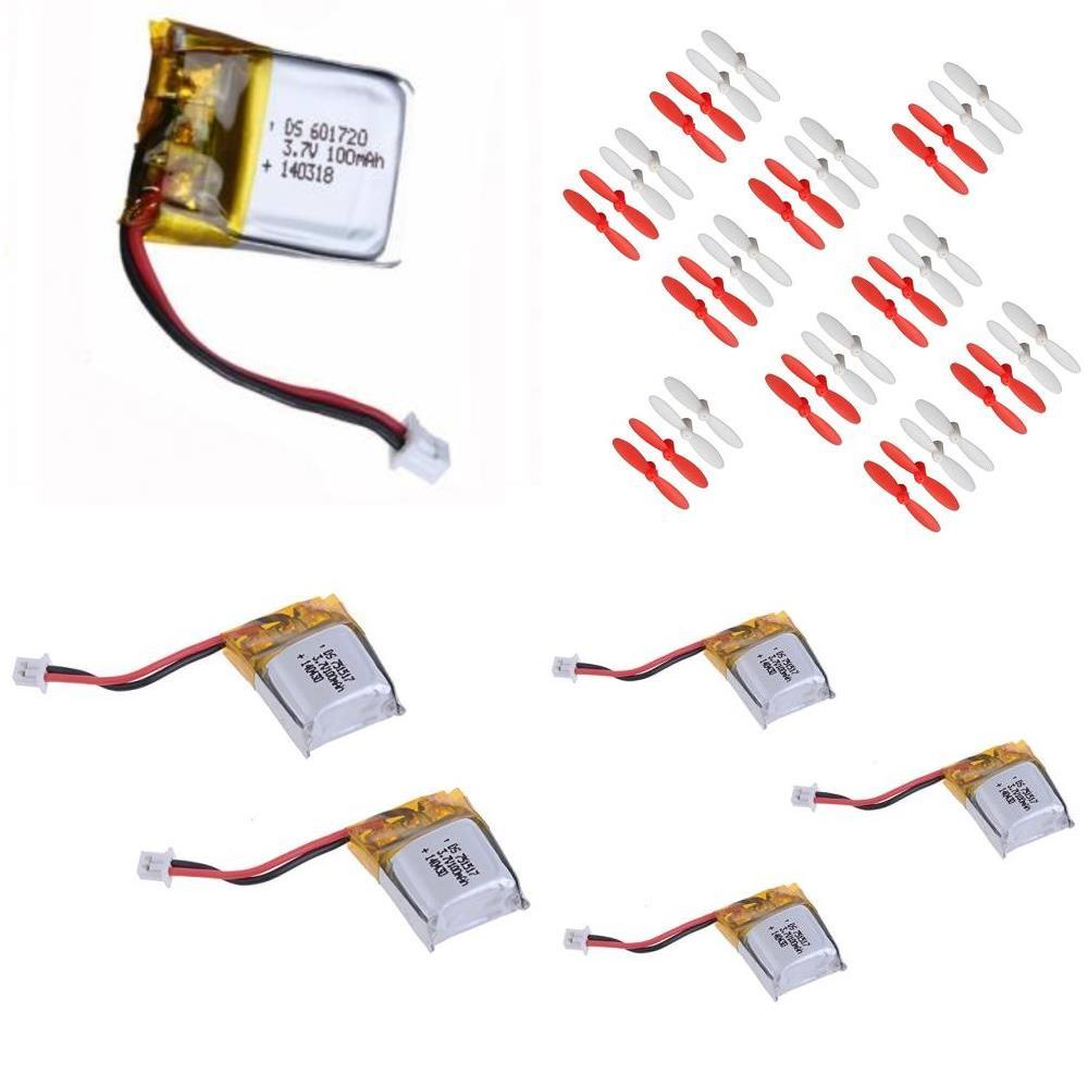 HobbyFlip 3.7v 100mAh LiPo Battery(6) w/30mm Propellers 10 sets of 4 for Cheer X1